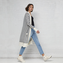 Load image into Gallery viewer, Maritime Stripe Open Cardigan. Black and White Striped Cardigan Outfit. Autumn Cashmere.