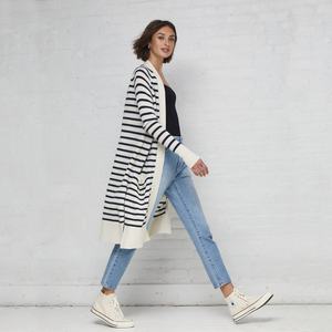 Maritime Stripe Open Cardigan. Black and White Striped Cardigan Outfit. Autumn Cashmere.