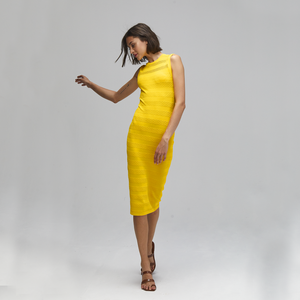 Autumn Cashmere. Mesh/Tuck Stitch Muscle Tee Dress in Yellow. Viscose.