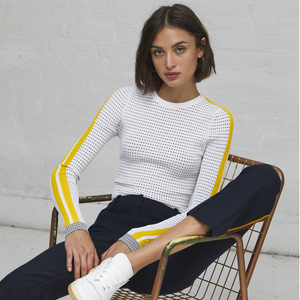 Autumn Cashmere. Ribbed L/S Crew with Athletic Stripes. Women's Sportswear. Viscose Blend.