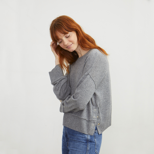 Boxy Side Snap Crew | Women's Grey Sweater Pullover | Autumn Cashmere