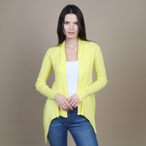 Autumn Cashmere. Cotton Rib Drape in Nuclear. Women's Yellow Cardigan. 100% Italian Cotton.