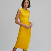 Load image into Gallery viewer, Autumn Cashmere. Mesh/Tuck Stitch Muscle Tee Dress in Yellow. Viscose.