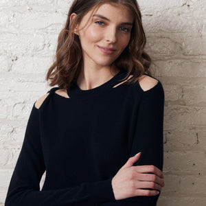 Twist Shoulder Crew Pullover in Black | Cut Hole Sweater | Women's Apparel | Autumn Cashmere