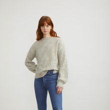 Load image into Gallery viewer, Bishop Sleeve Diamond Mock Pullover | Luxury Cashmere | Autumn Cashmere