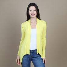 Load image into Gallery viewer, Autumn Cashmere. Cotton Rib Drape in Nuclear. Women's Yellow Cardigan. 100% Italian Cotton.