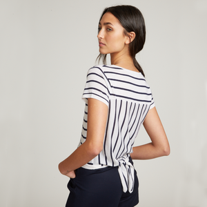 Striped Tie Back Tee