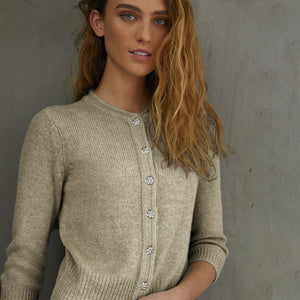 Vintage Baby Cardigan w/ Jewel Buttons in Mojave