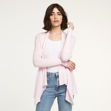 Load image into Gallery viewer, Autumn Cashmere. Cotton Rib Drape in Cherry Blossom. Pink Cardigan. Italian Yarn.