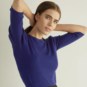 Ribbed Elbow Puff Sleeve Crew in Blue