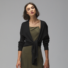 Load image into Gallery viewer, Black Tie Front Rib Cardigan. Cardigan Sweater. Summer. Autumn Cashmere.