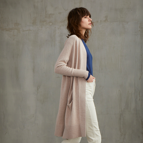 Cotton Maxi Cardigan in Beech