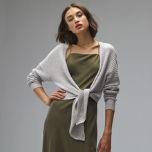 Load image into Gallery viewer, Tie Front Rib Cardigan. Grey Tie Waist Cardigan. Pure Cashmere. Autumn Cashmere.