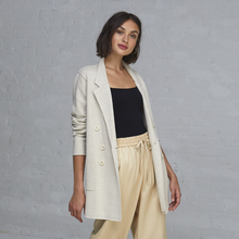 Load image into Gallery viewer, Autumn Cashmere. Women's. Beige Boyfriend Milano Blazer. Pure Cotton Blazer. 100% Italian Cotton.