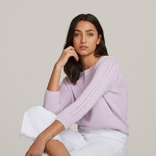 Load image into Gallery viewer, Autumn Cashmere. Loose Cropped Crew with Pointelle. Purple Cotton Sweater Women's. Italian Cotton.