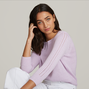 Autumn Cashmere. Loose Cropped Crew with Pointelle. Purple Cotton Sweater Women's. Italian Cotton.