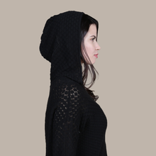 Load image into Gallery viewer, Autumn Cashmere. Women's Scales Pointelle Hoodie in Black. 100% Italian Cotton.