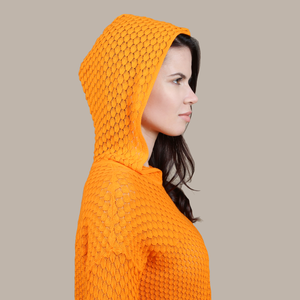 Autumn Cashmere. Women's Scales Pointelle Hoodie in Orange. 100% Italian Cotton.