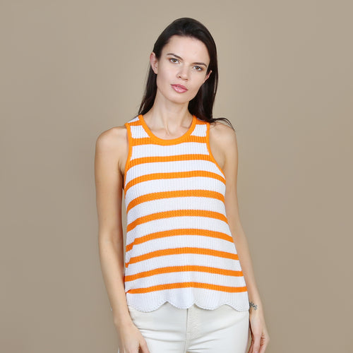 Scallop Shaker Tank in White/Mandarin