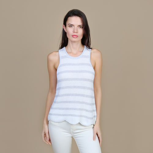 Scallop Shaker Tank in White/Platinum
