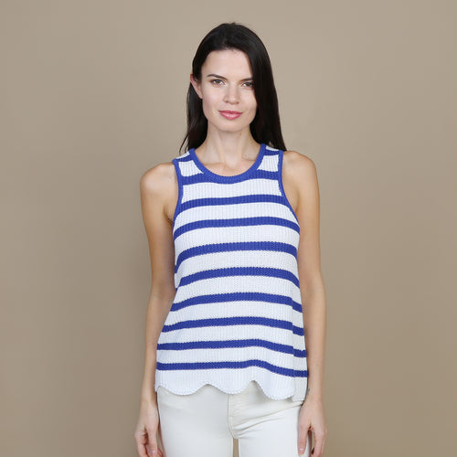 Scallop Shaker Tank in White/Santorini