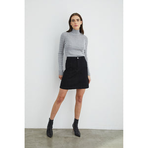Shadow Stripe Mock Neck