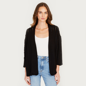 Autumn Cashmere | Women's Black Open Pointelle Duster