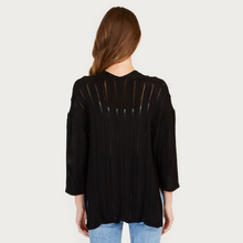 Load image into Gallery viewer, Autumn Cashmere | Women's Black Open Pointelle Duster