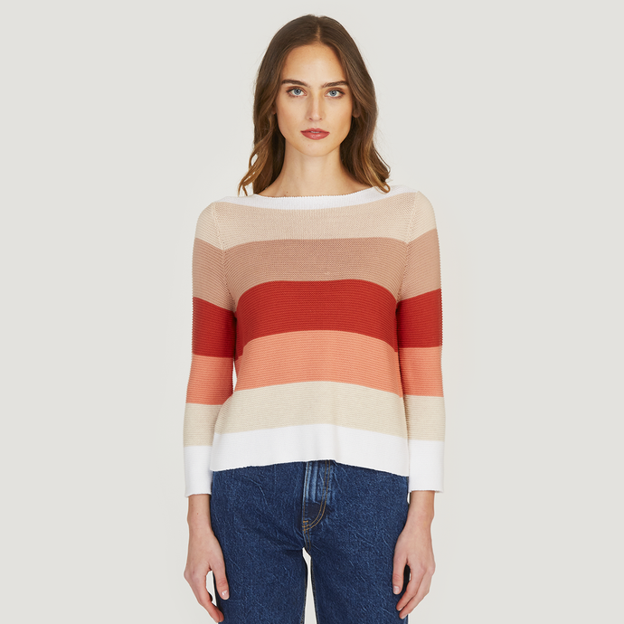 Autumn Cashmere | Women's Rainbow Links Stitch Boatneck Sweater | 100% Cotton