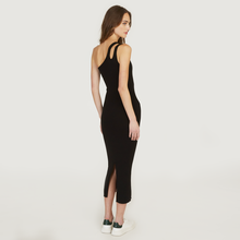 Load image into Gallery viewer, Slash One Shoulder Rib Midi Dress in Black