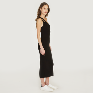 Slash One Shoulder Rib Midi Dress in Black