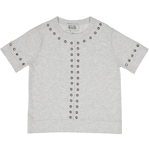 Grommet Boxy Short Sleeve in Grey | Girls' Clothing & Apparel | Autumn Cashmere