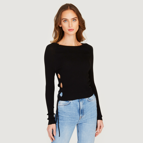 Autumn Cashmere | Women's Rib Open Side Cropped Top in Black