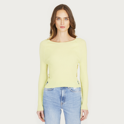 Autumn Cashmere | Women's Rib Open Side Cropped Top in Glowstick Yellow