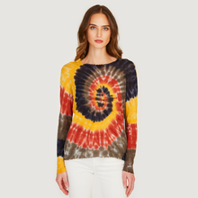 Load image into Gallery viewer, Autumn Cashmere | Women's Distressed Edge Tie Dye Crew | Tissue weight Cotton