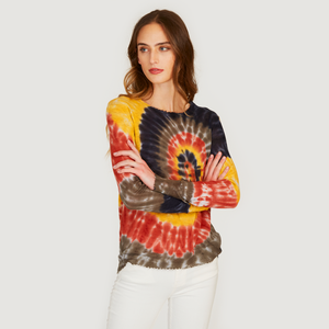 Autumn Cashmere | Women's Distressed Edge Tie Dye Crew | Tissue weight Cotton