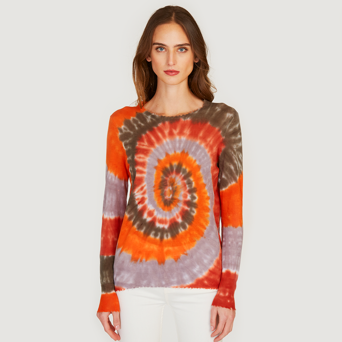 Autumn Cashmere | Women's Distressed Edge Tie Dye Crew | Orange |  Tissue weight Cotton