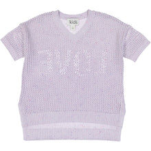 Load image into Gallery viewer, Love Back Mesh V-Neck Sweater | Girls' Clothing & Apparel | 100% Cotton | Autumn Cashmere