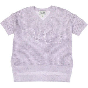 Love Back Mesh V-Neck Sweater | Girls' Clothing & Apparel | 100% Cotton | Autumn Cashmere