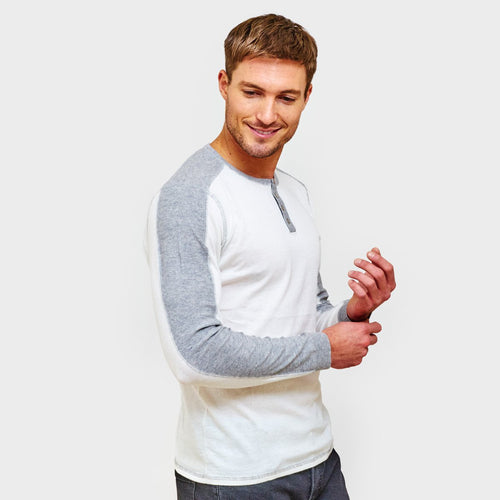 Henley with Colorblock Sleeve. Men's Cashmere Sweater. Autumn Cashmere.