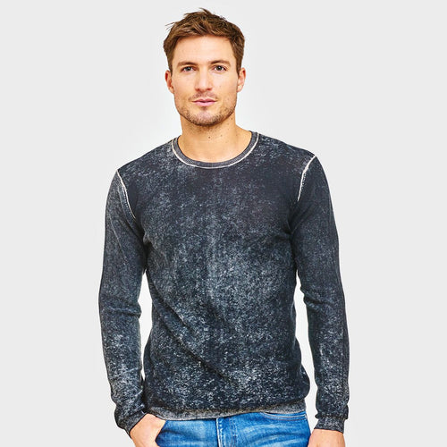 Inked Crew Sweater. Men's Cotton Cashmere Sweater in Black. Luxury Knitwear. Autumn Cashmere.