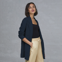 Load image into Gallery viewer, Autumn Cashmere. Blue Boyfriend Milano Blazer. Women's Blue Blazer. 100% Italian Cotton.