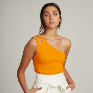 Rib Slash One Shoulder Tank in Orange | 100% Cotton | Autumn Cashmere