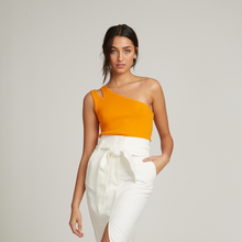 Load image into Gallery viewer, Rib Slash One Shoulder Tank in Orange | 100% Cotton | Autumn Cashmere