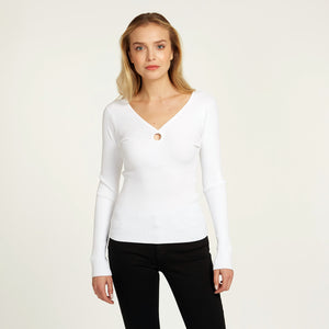 Reversible O-Ring V-Neck Blouse in White | Long Sleeves | Women's Apparel | Autumn Cashmere