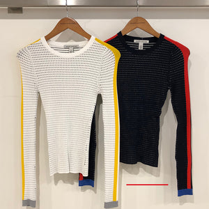 Ribbed L/S Crew with Athletic Stripes / FINAL SALE