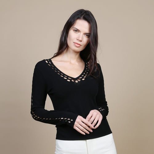 Open Pointelle V & Sleeves in Black