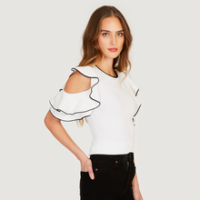 Load image into Gallery viewer, Autumn Cashmere | Women's White Tipped Rib Flounce Sleeve Crew | Viscose