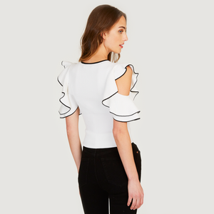 Autumn Cashmere | Women's White Tipped Rib Flounce Sleeve Crew | Viscose