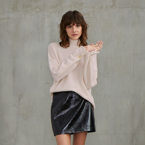Boxy Mock with Button Sleeves in Pink